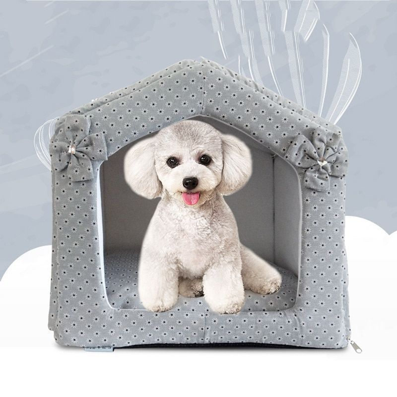 Princess Winter Warm Floral Pet House Fabric Dog Kennel Bed Gray Beige S L Puppy Bed Beige Dog Fabric Flor Dog Kennel Cheap Dog Kennels Grey Bedding