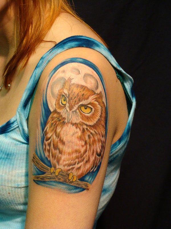 Owl In The Full Moon Owl Tattoo Design Cute Owl Tattoo Owl Tattoo