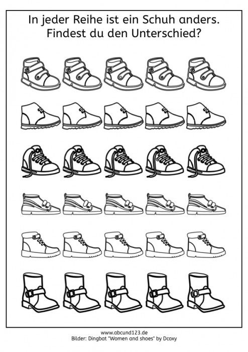 Wahrnehmungstraining mit Schuhen - | discriminación visual ...