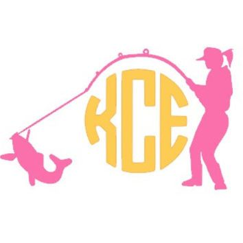 Custom Fisherwoman Monogram Car Decal Country Girl Decal Fishing - Anchor custom vinyl decals for car