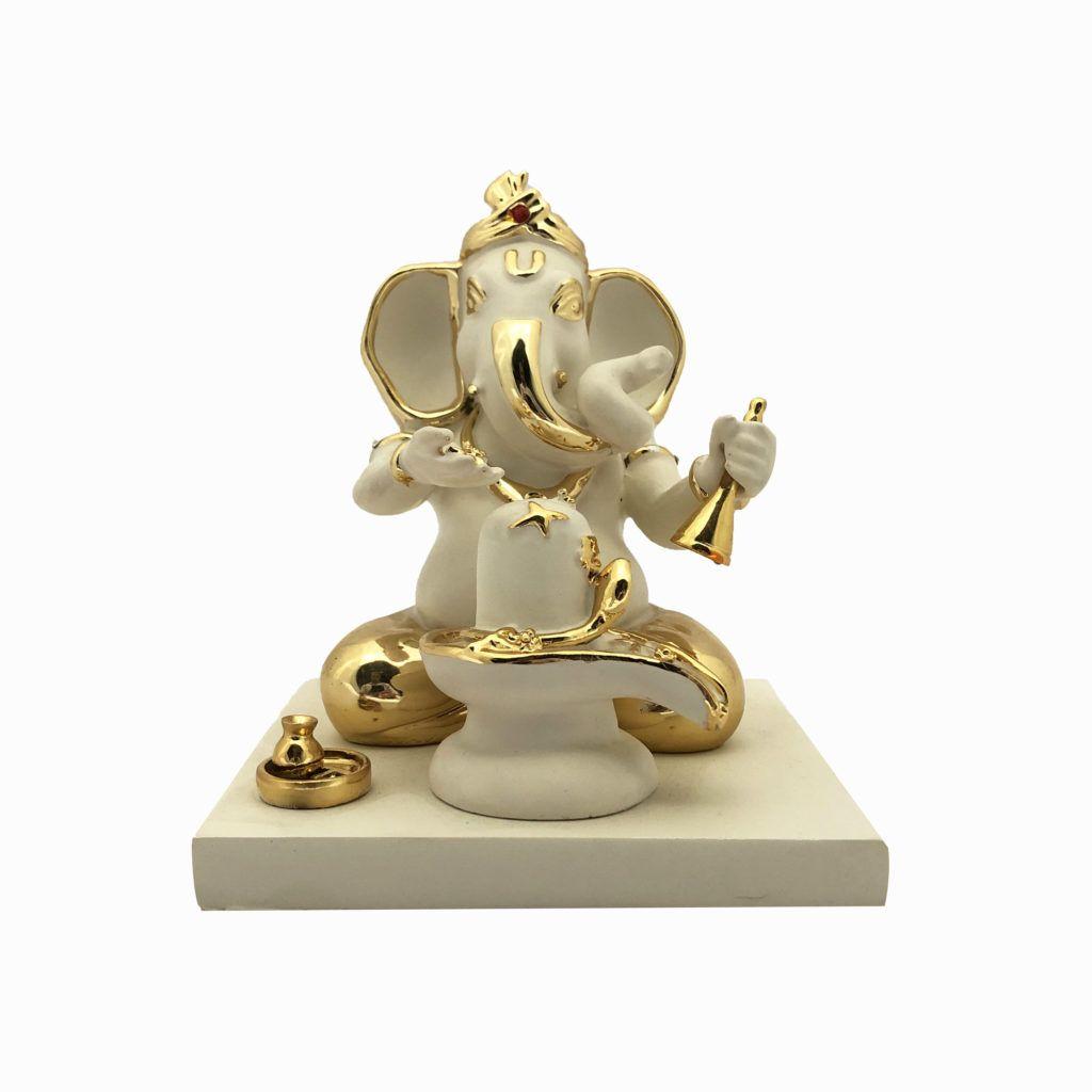 Giftii In Shop Beautiful Golden White Porcelain Made Ganesha