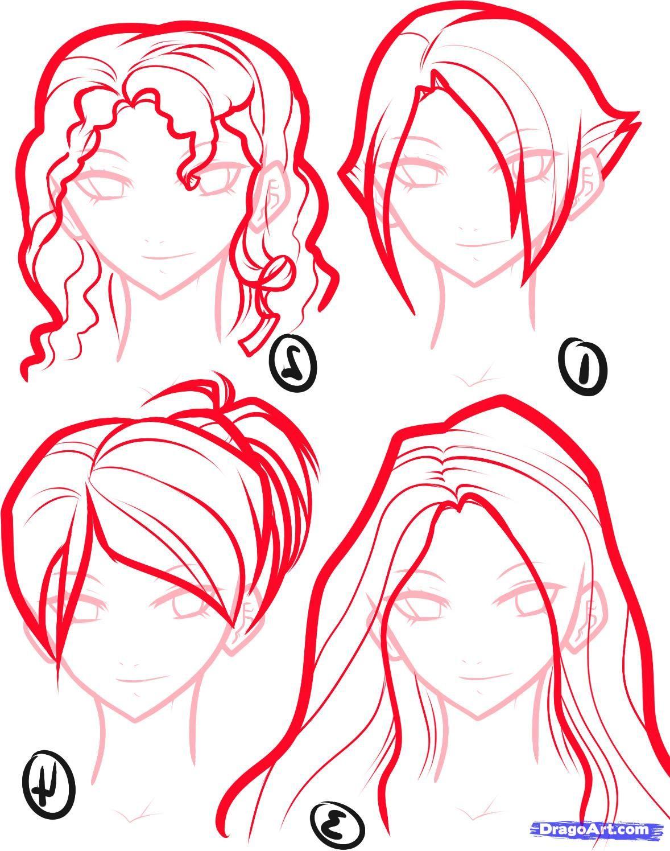 How To Draw Anime  Draw Anime Hair, Step By Step, Anime Hair,