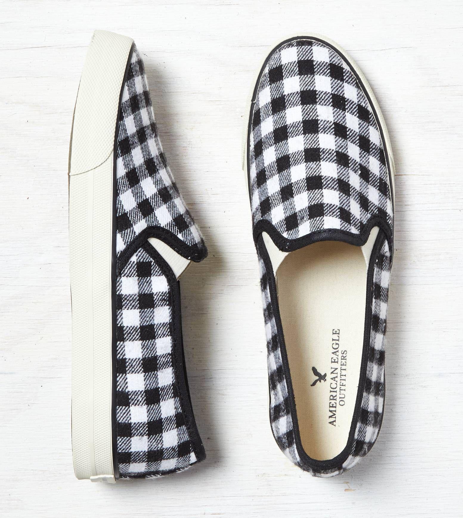 White Aeo Plaid Slip On Sneaker Show Us Your Aeostyle On