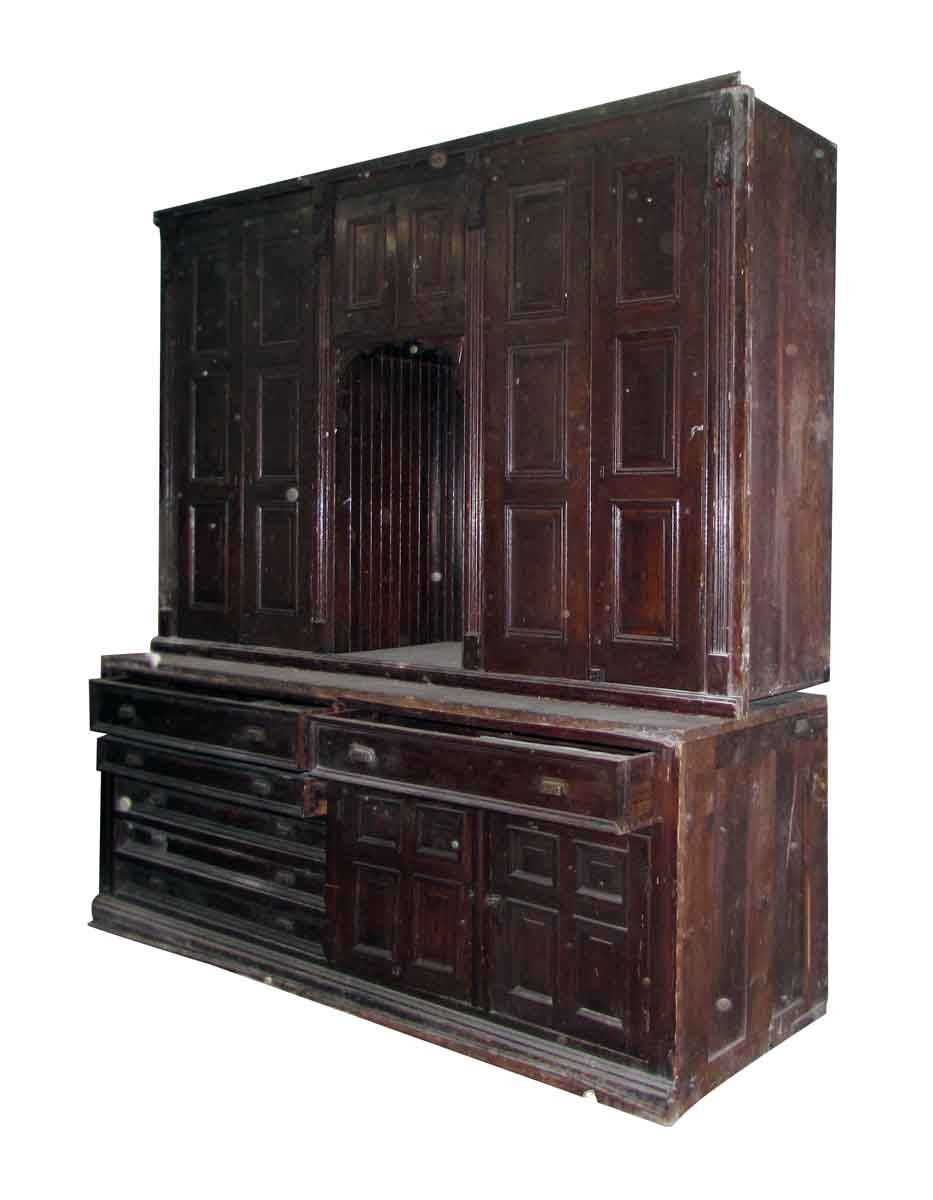 Antique Chestnut Vestment Cabinet Great For Map Hardware Storage