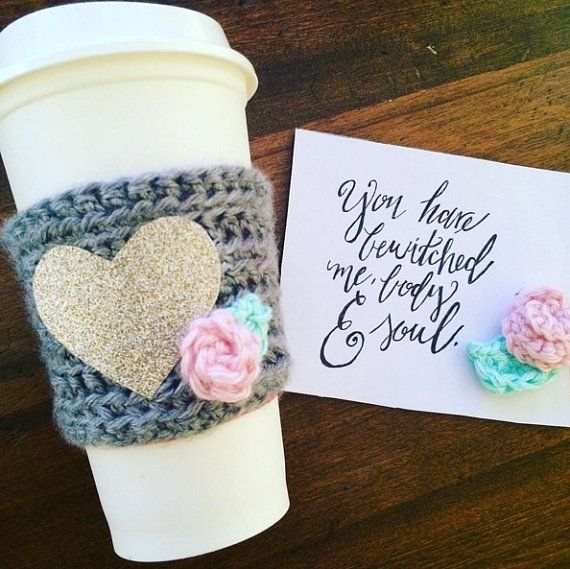 Glitter and Roses Coffee Cozy, Coffee Cozy, Coffee Sleeve, Crochet Cozy, Coffee by SweetAffairsCo