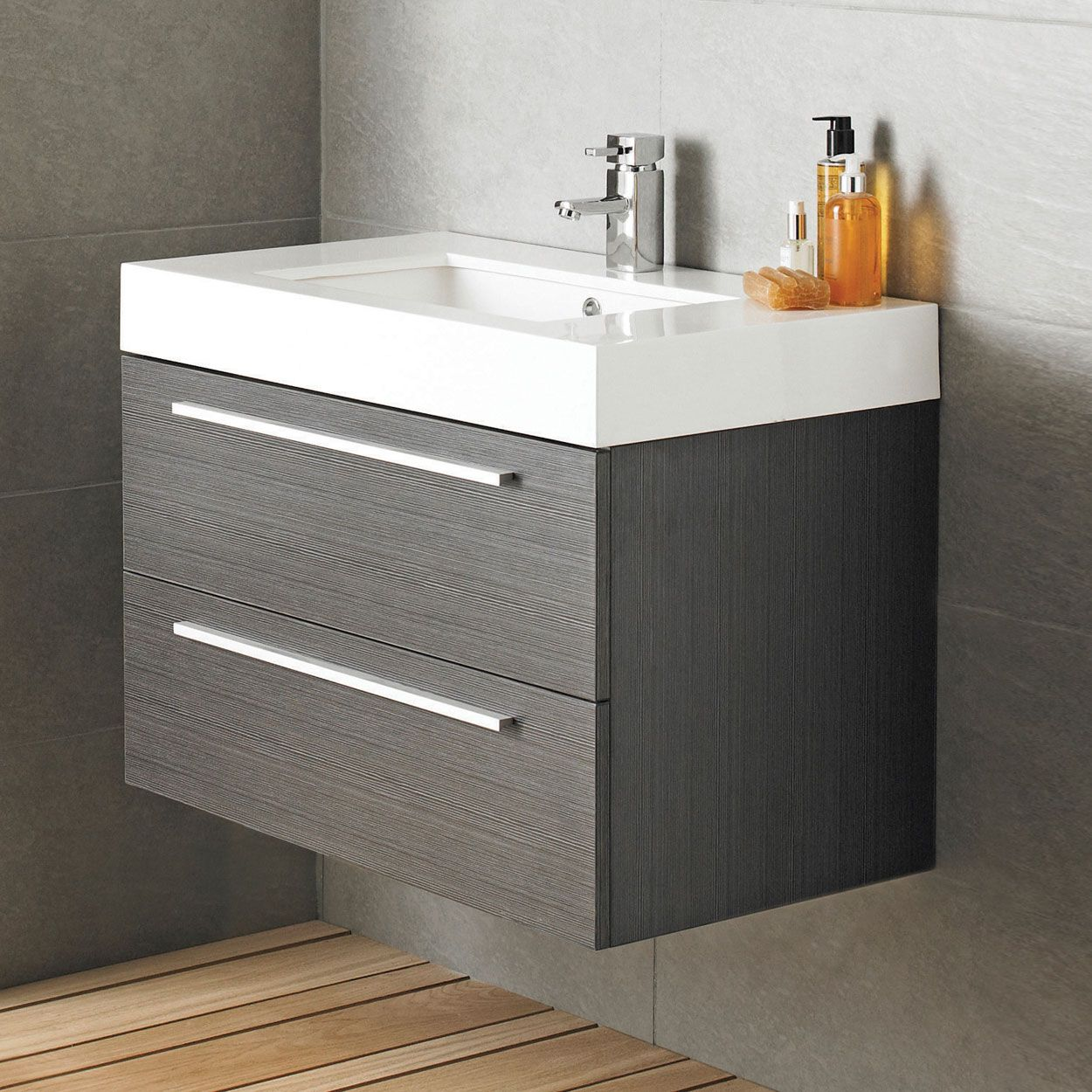 Bathroom sink and vanity unit - Designer Style Silhouette Basin And Cabinet Wall Hung Grey Bathroom Vanity Storage Unit