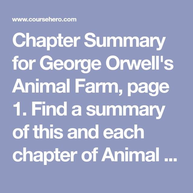 Animal Farm Discussion Questions Answers Pg 1 Course Hero Farm Animals Chapter Summary Discussion Questions