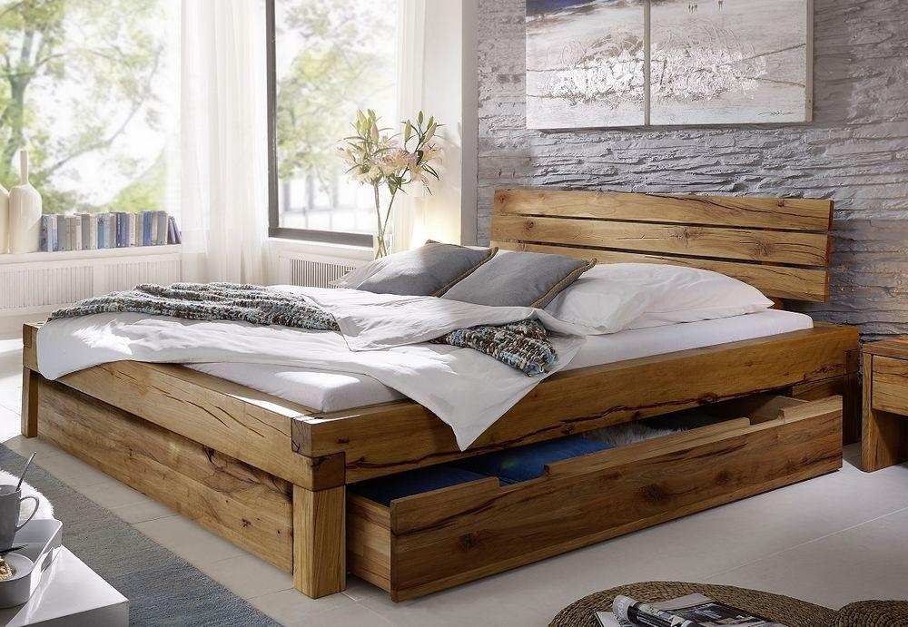 Balkenbett Bett Doppelbett 180x200cm Wildeiche Eiche Holz massiv ...