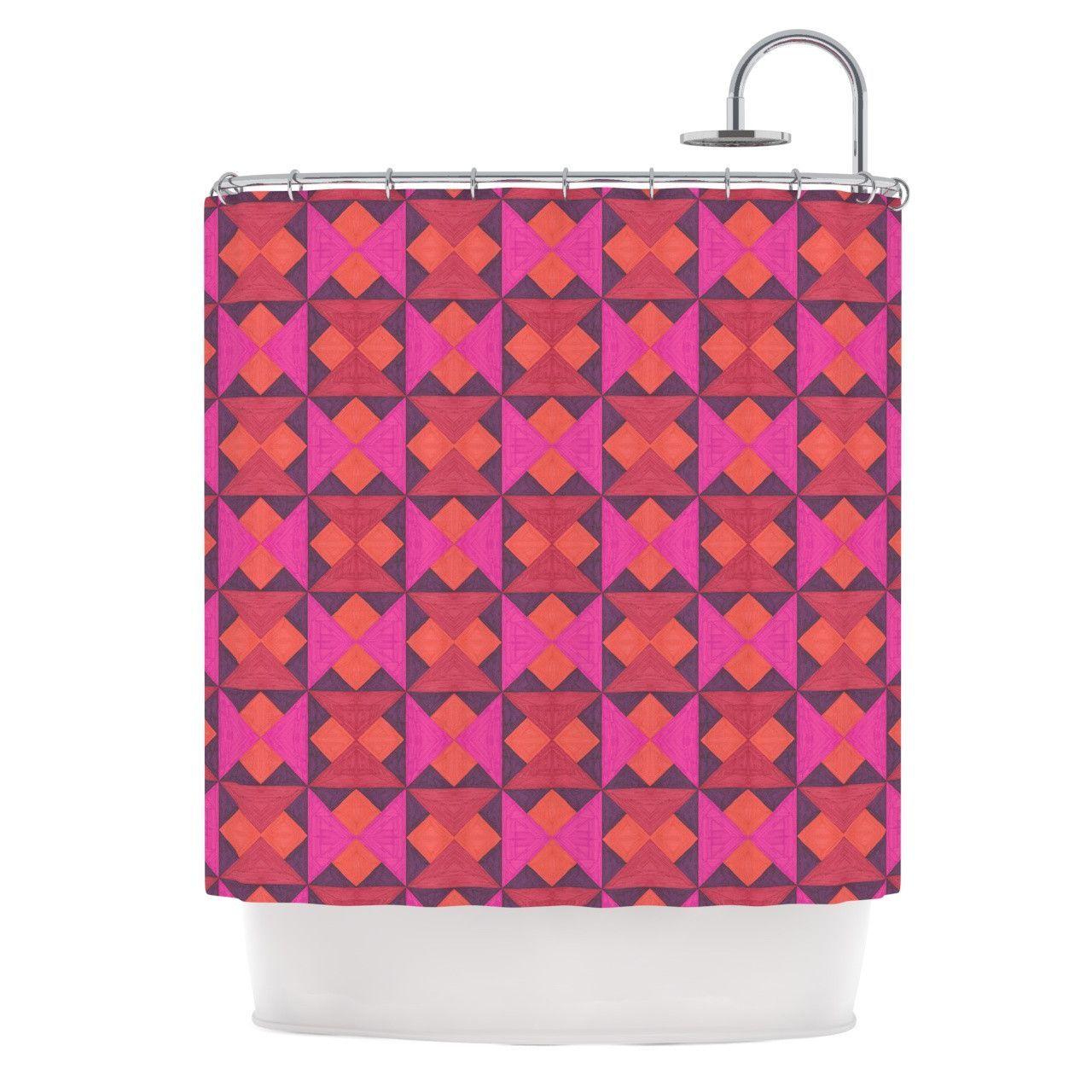 Shower curtain quilt pattern - Empire Ruhl A Quilt Pattern Pink Red Shower Curtain