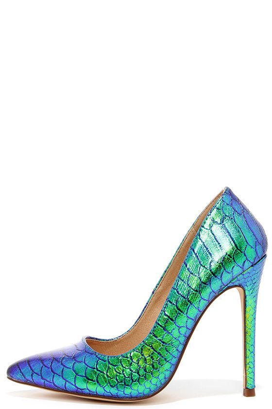 6858f4879be Make way for the stunning style of the Ladies First Green Hologram Pointed  Pumps! These little winners offer a hyped-up look with blue and green ...