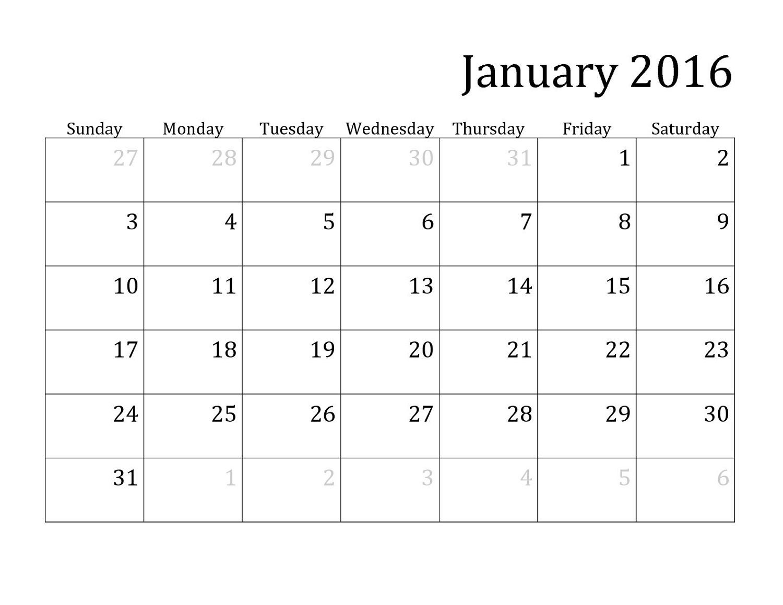 Calendar Printable January