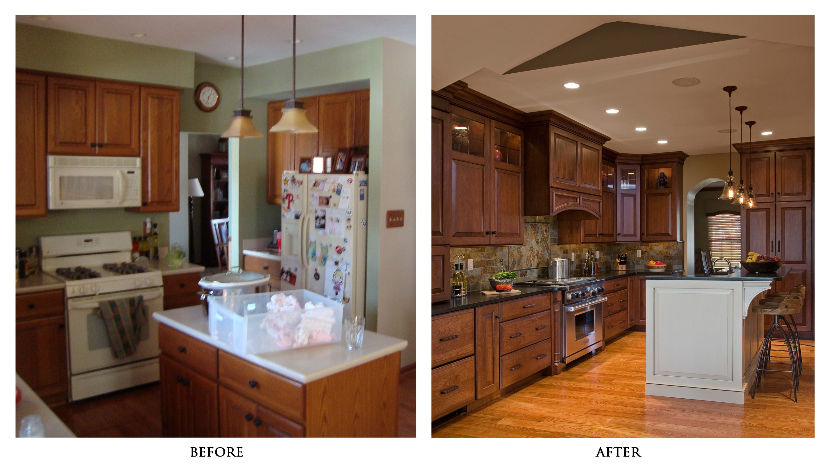 Kitchen remodels before and after photos kitchen for Small kitchen remodel before and after