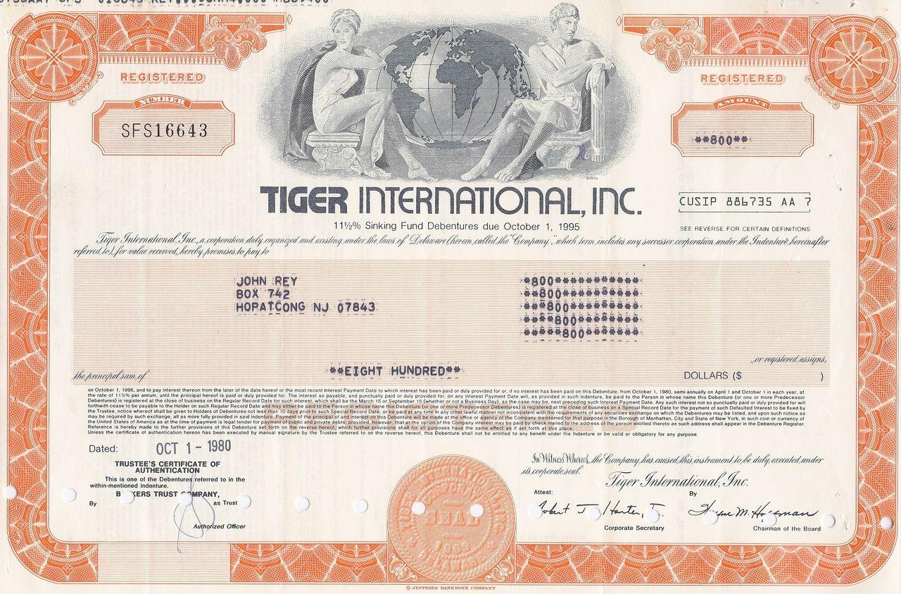 Tiger international , Inc. 1980 Air america, Tiger