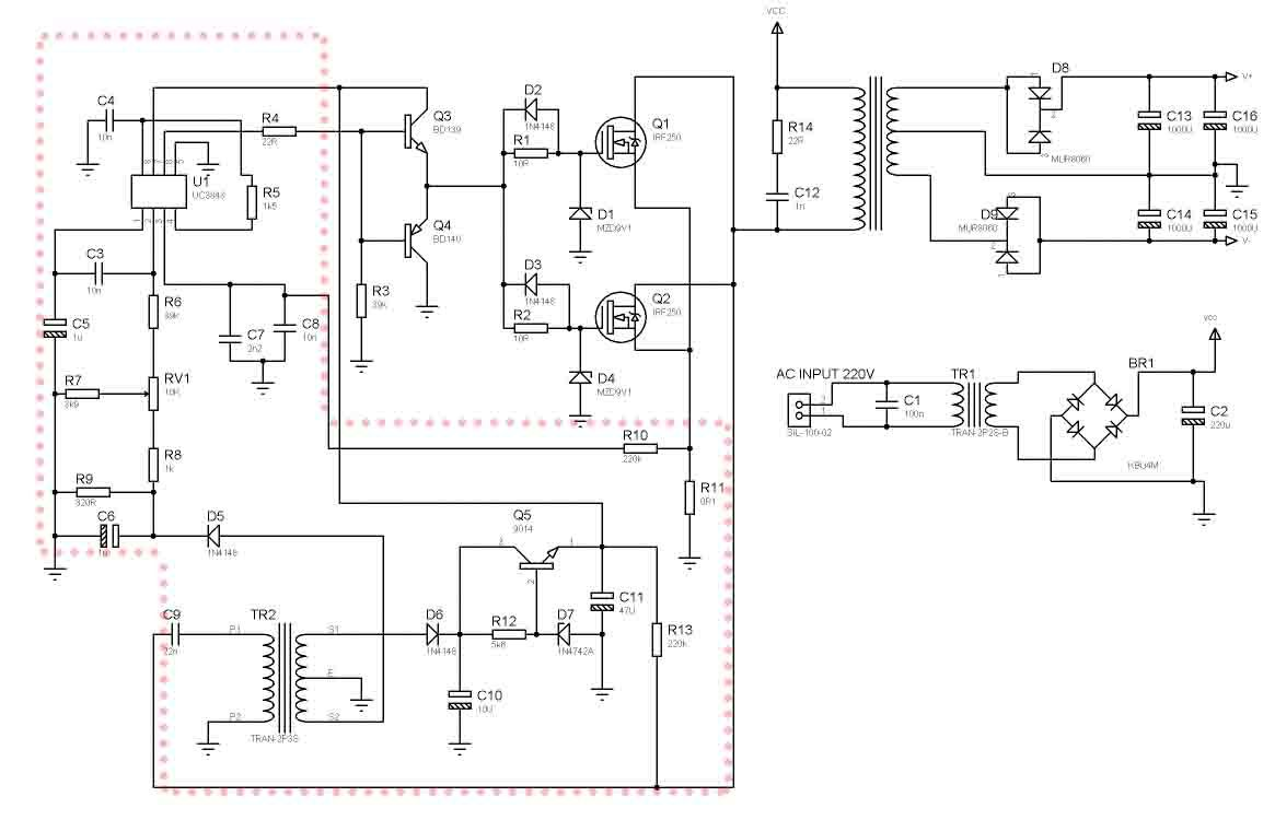 SMPS Power Amplifier using 2 Mosfet Transistor