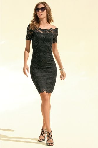 Off-the-shoulder lace dress from Boston Proper on shop.CatalogSpree.com, your personal digital mall.