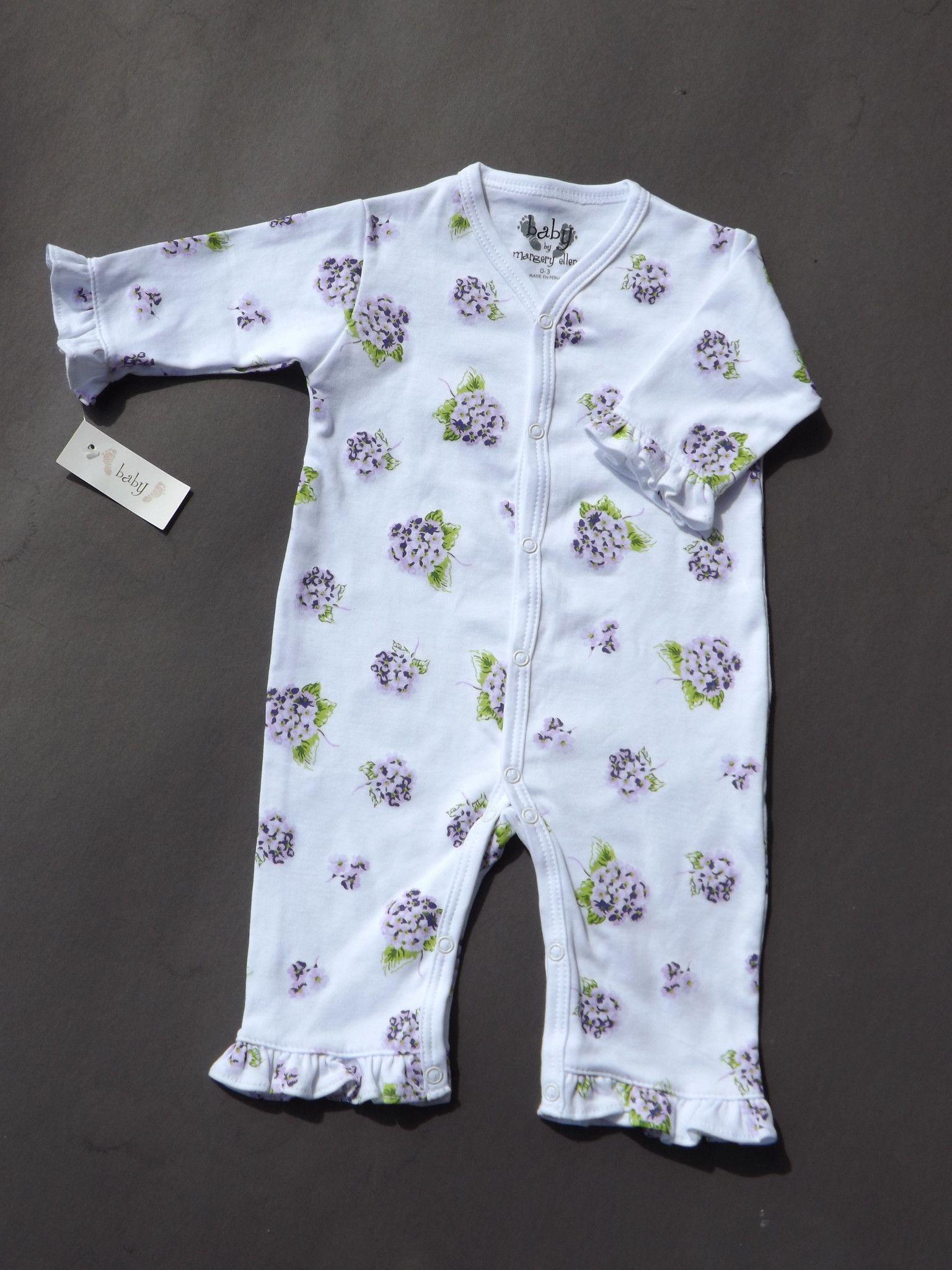 Darling ruffled hydrangeas romper for newborn baby girl. Sizes 5-5