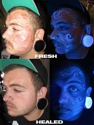 Resultado De Imagen De Fluorescent Tattoos Face Tattoos Uv Tattoo Facial Tattoos