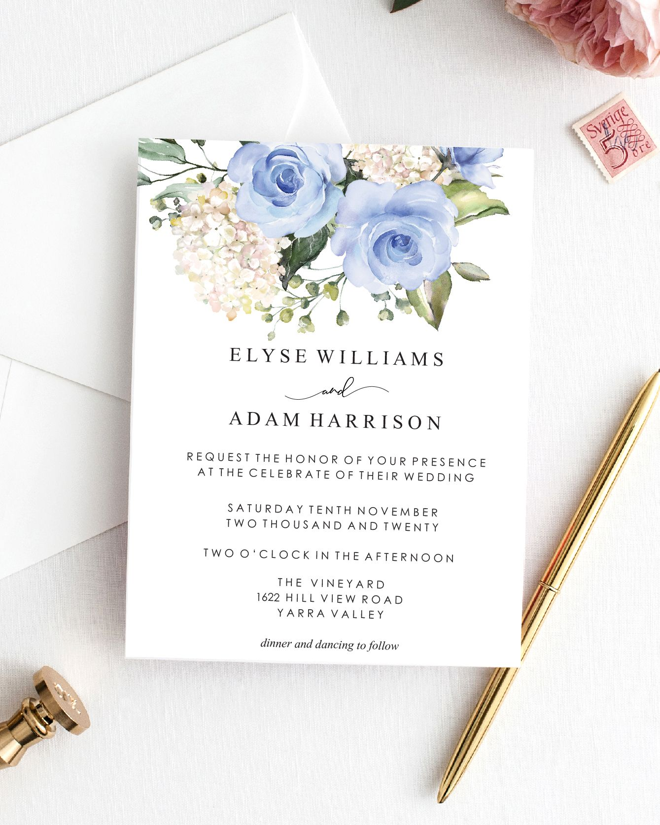 Editable Wedding Invitation Template Blue Floral Printable Etsy Wedding Invitation Templates Modern Wedding Invitation Wording Wedding Invitation Inserts