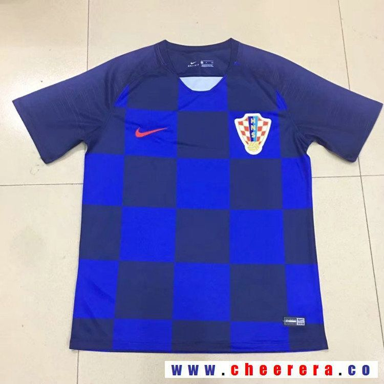 2bba334e1 Men's Croatia Blank Away Blue Thailand Short Sleeves 2018 World Cup Soccer  Jerseys