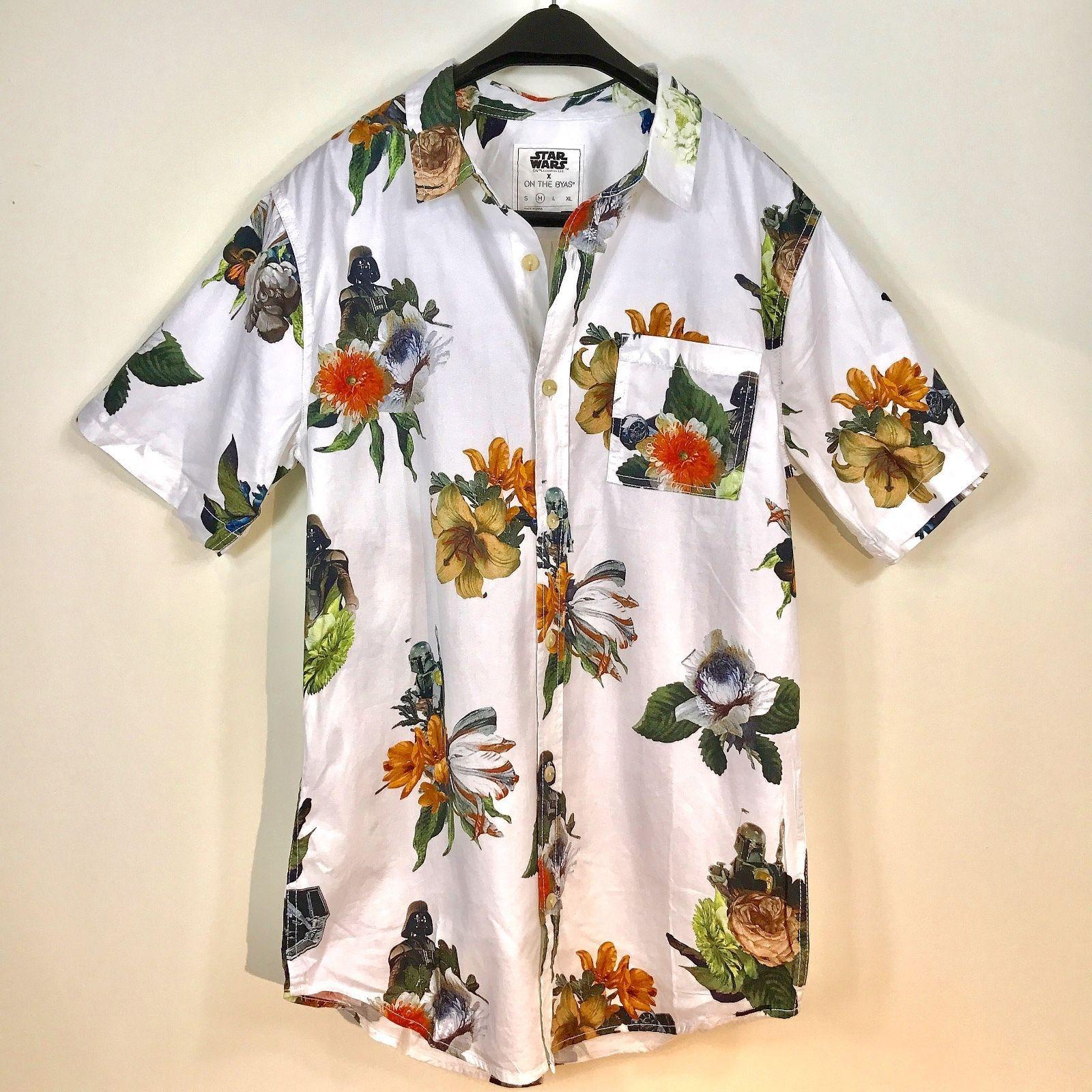 c8b26e5307 Men s ON THE BYAS STAR WARS Darth Vader Hawaiian Flora 100% Cotton Woven  Shirt