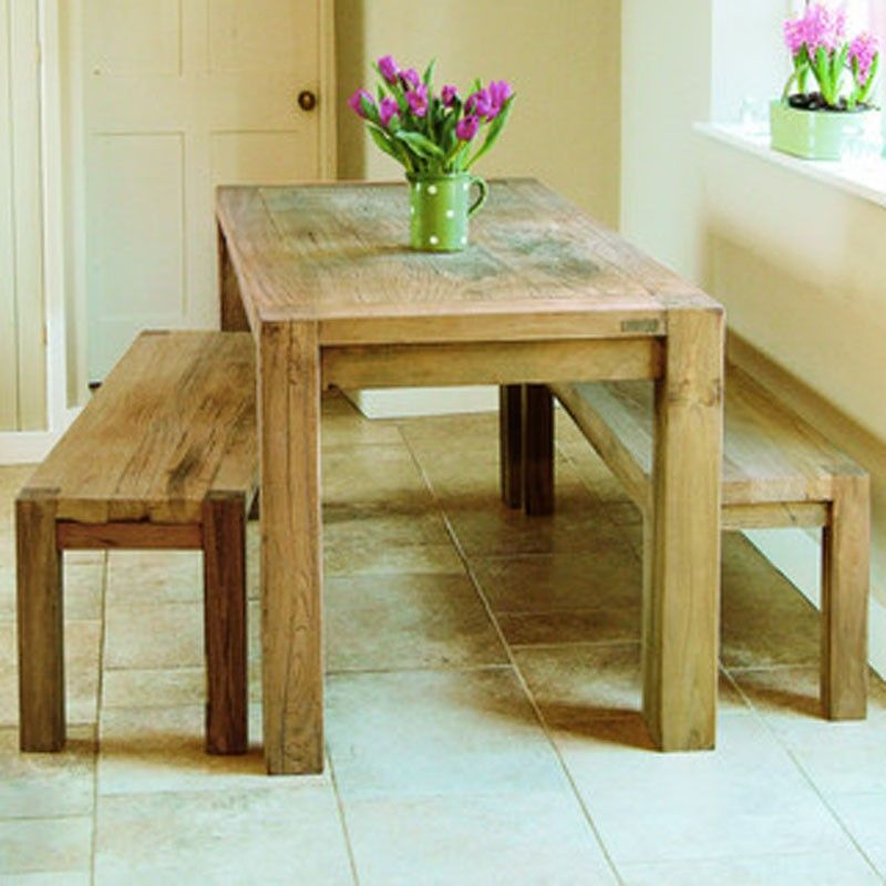 Oak Kitchen Table And Bench Set