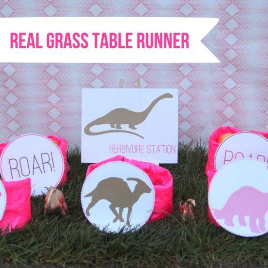 dinosaur party decor real grass table runner Hazels birthday
