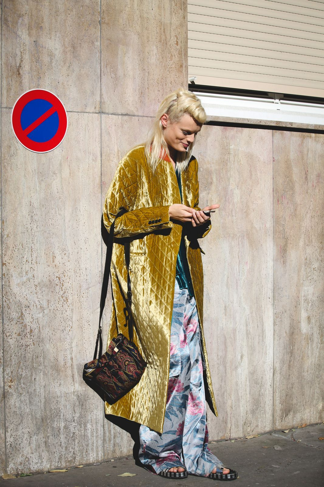 Every Must-See Street Style Look From Paris Fashion Week #refinery29 http://www.refinery29.com/2015/10/95202/paris-fashion-week-spring-2016-street-style-pictures#slide-26 No need to get your pants hemmed....