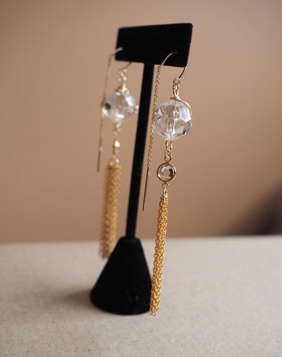 Crystal Galaxy 14k Gold Tassel Earrings by DianaHoDesigns on Etsy