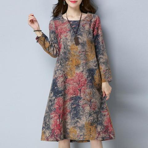 KANCOOLD Dress Fashion Women Long Sleeve O Neck Pocket Dress Cotton Linen  Printed Loose Casual Dress women 2018AUG7 1a45e3e70c49