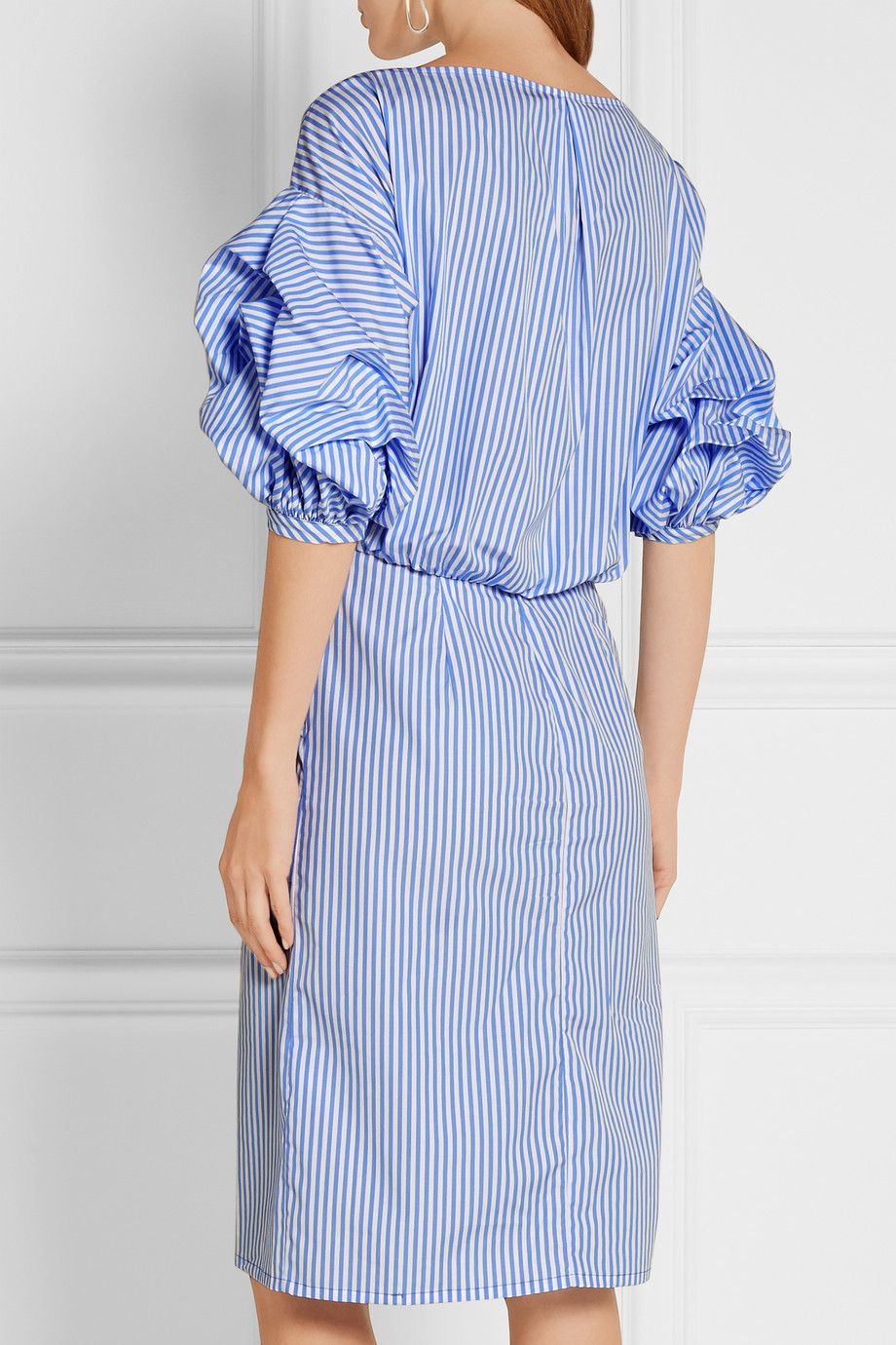 Johanna Ortiz Tuxedo Wrap Effect Striped Cotton Poplin Shirt Dress