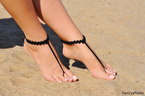 f4adc79a03f68 Crochet Black Barefoot Sandals, Foot jewelry, Bridesmaid gift, Barefoot  sandles, Beach, Anklet, Wedding shoes, Beach Wedding, Summer shoes