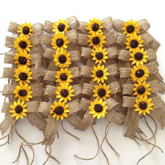 Sunflower Burlap Bows Wedding Decorative Bows Set Of 24
