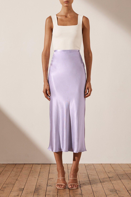 Sophia Bias Midi Skirt   Lavender   Skirts   Shona Joy – Shona Joy International