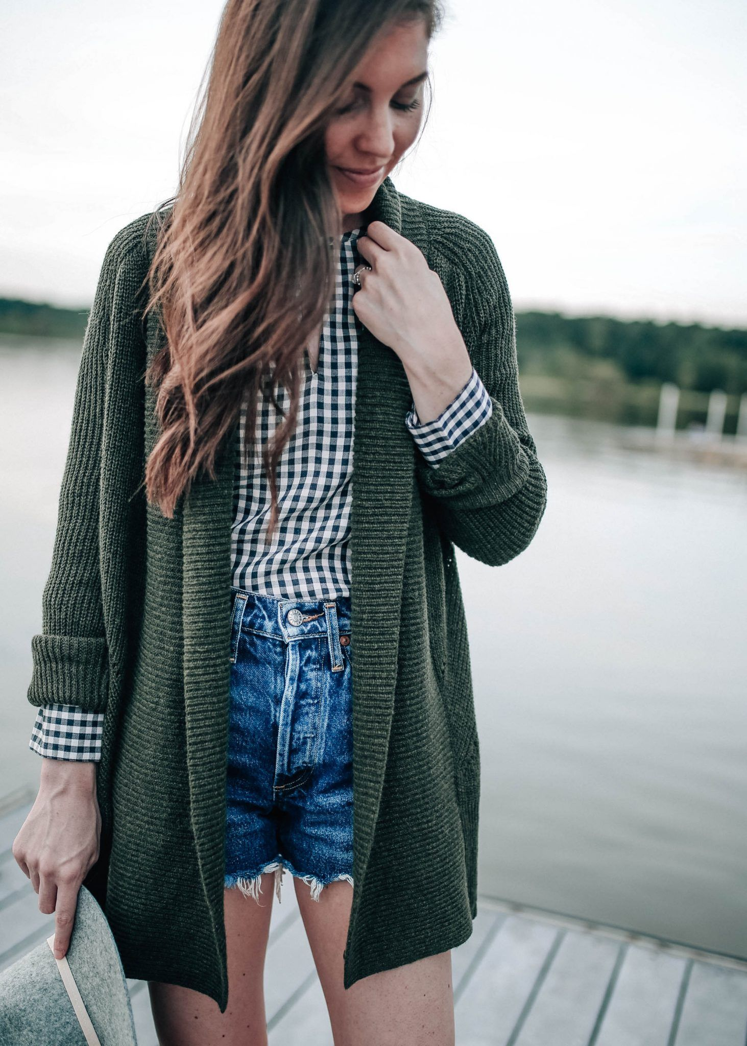 Flannel shirt with shorts  Denim Shorts for Fall  Open cardigan Flannel shirts and Gingham