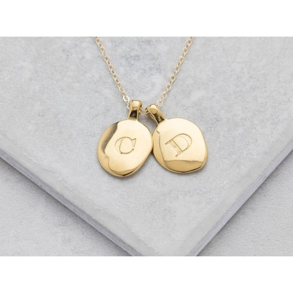 Personalised Gold Oval Initial Necklace | Gifts for Women
