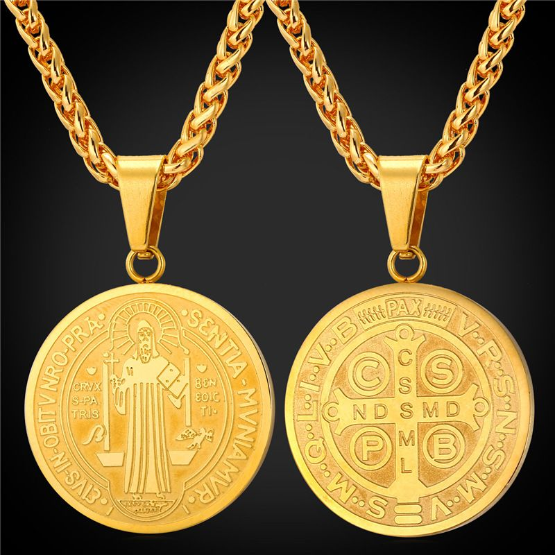 Saint Benedict Medal Pendant Necklace Charms Jewelry Gift Round ...