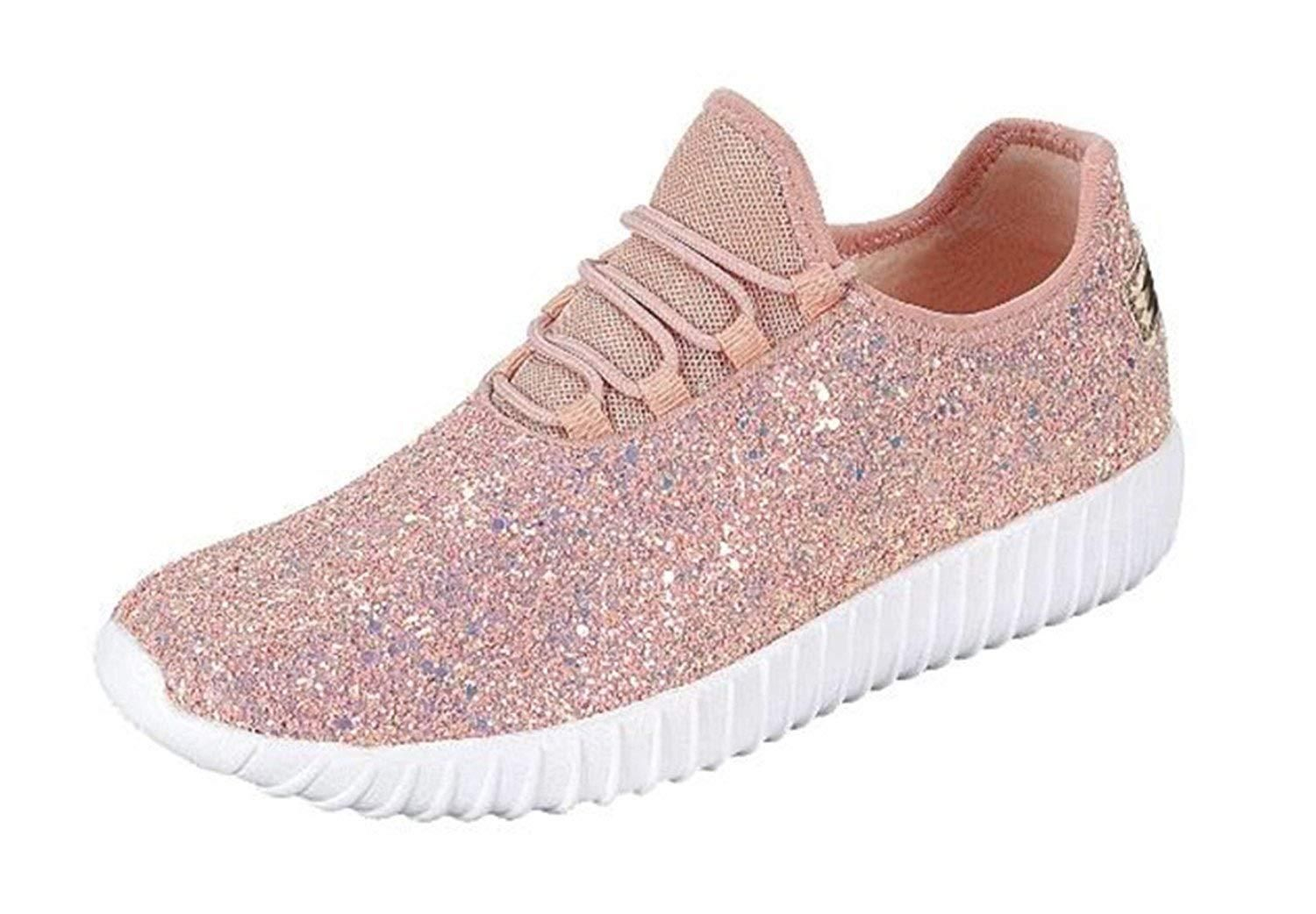 b85c1c16c81e SF Forever Link Remy-18 Women's Jogger Sneaker-Lightweight Glitter Quilted  Lace Up Shoes New