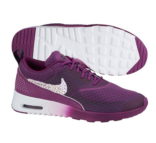 Custom Made Nike Air Max Thea with Swarovski Crystal Bling Swoosh Club  Purple White Hotroshes Glitter Sneakers 2015 Sale 7f2bd27a01