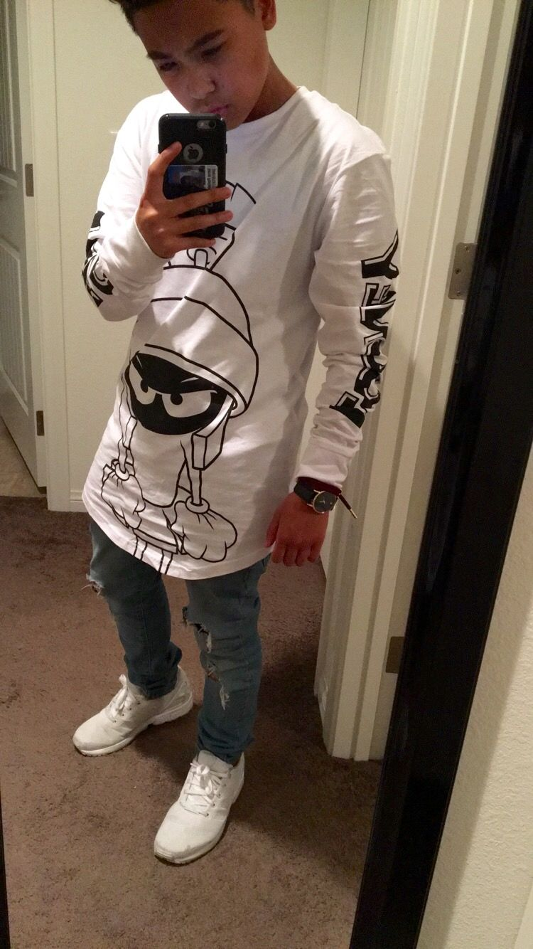 #h&m #ripped #jeans #adidas #looney #toons #long #tee