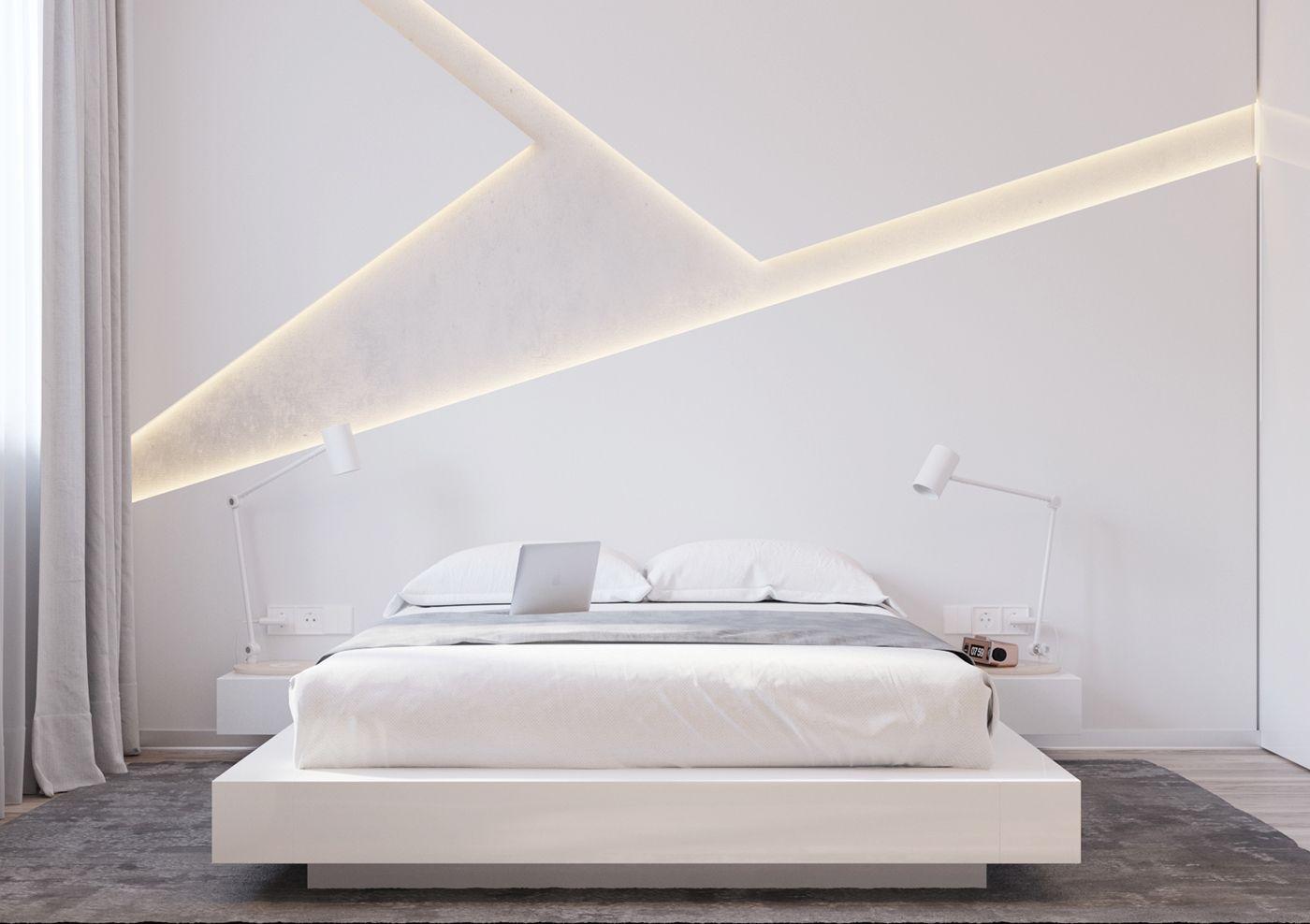 Master bedroom gypsum ceiling  Современная спальня в белых тонах от