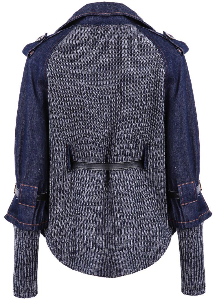 Blue Contrast Denim Lapel Knit Sweater | Ropa Reciclada | Pinterest ...