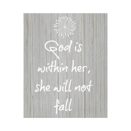 God is Within Her, She Will Not Fall Bible Verse Canvas Print #faith #bibleverse #christianquotes