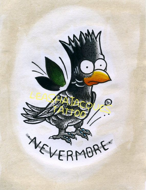 "The Simpsons Raven Bart inspired 20.5cm x 14.5cm ""Nevermore"" traditional tattoo print by Leasha Jacques. Limited set, ONLY 9 REMAINING!"