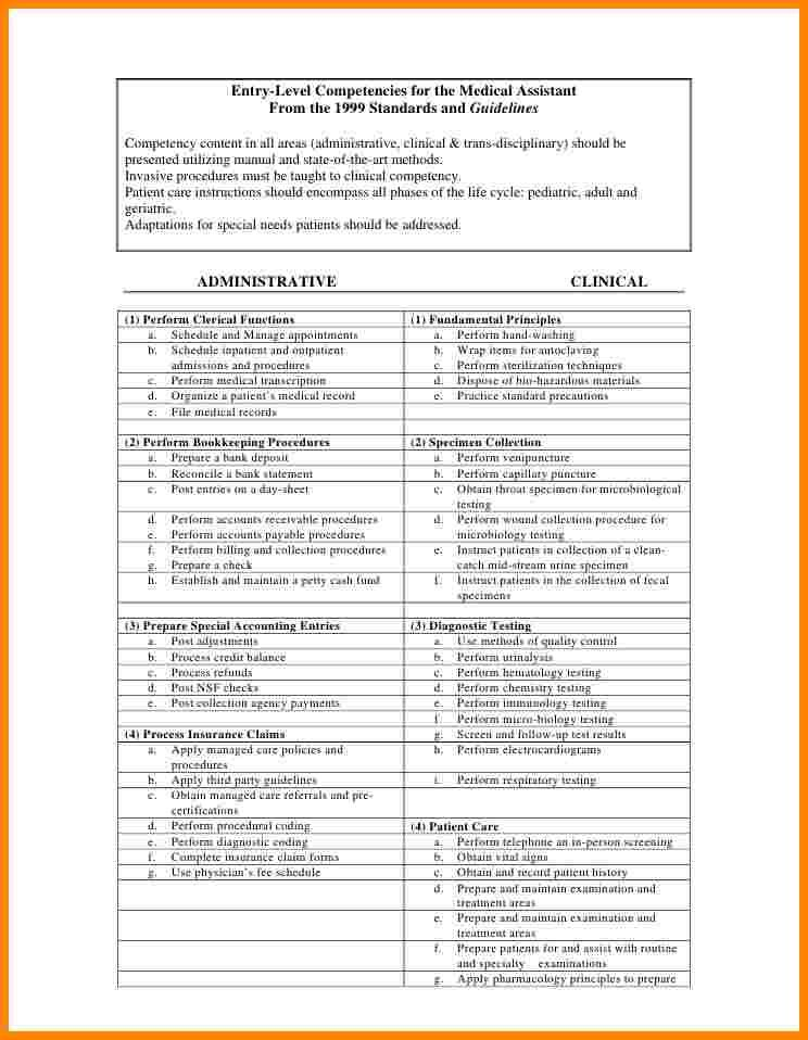 Medical Assistant Skills Checklist Technician Resume Template Best