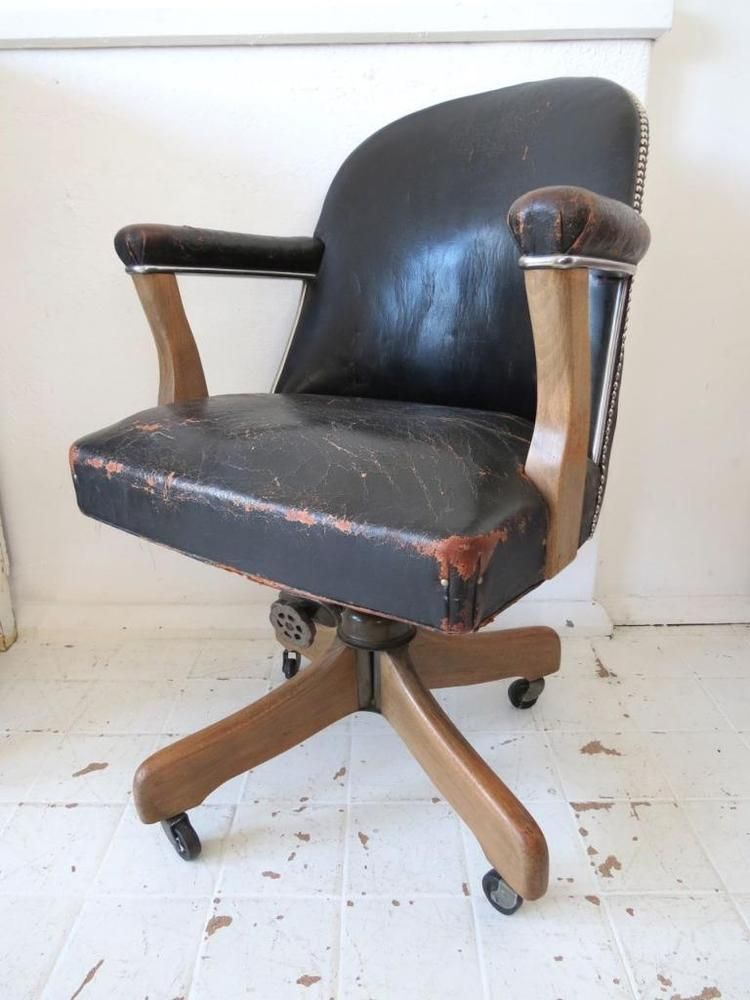 Art Deco Office Chairs. Vintage Industrial Art Deco Leather Swivel Office  Chair With Oak Leg