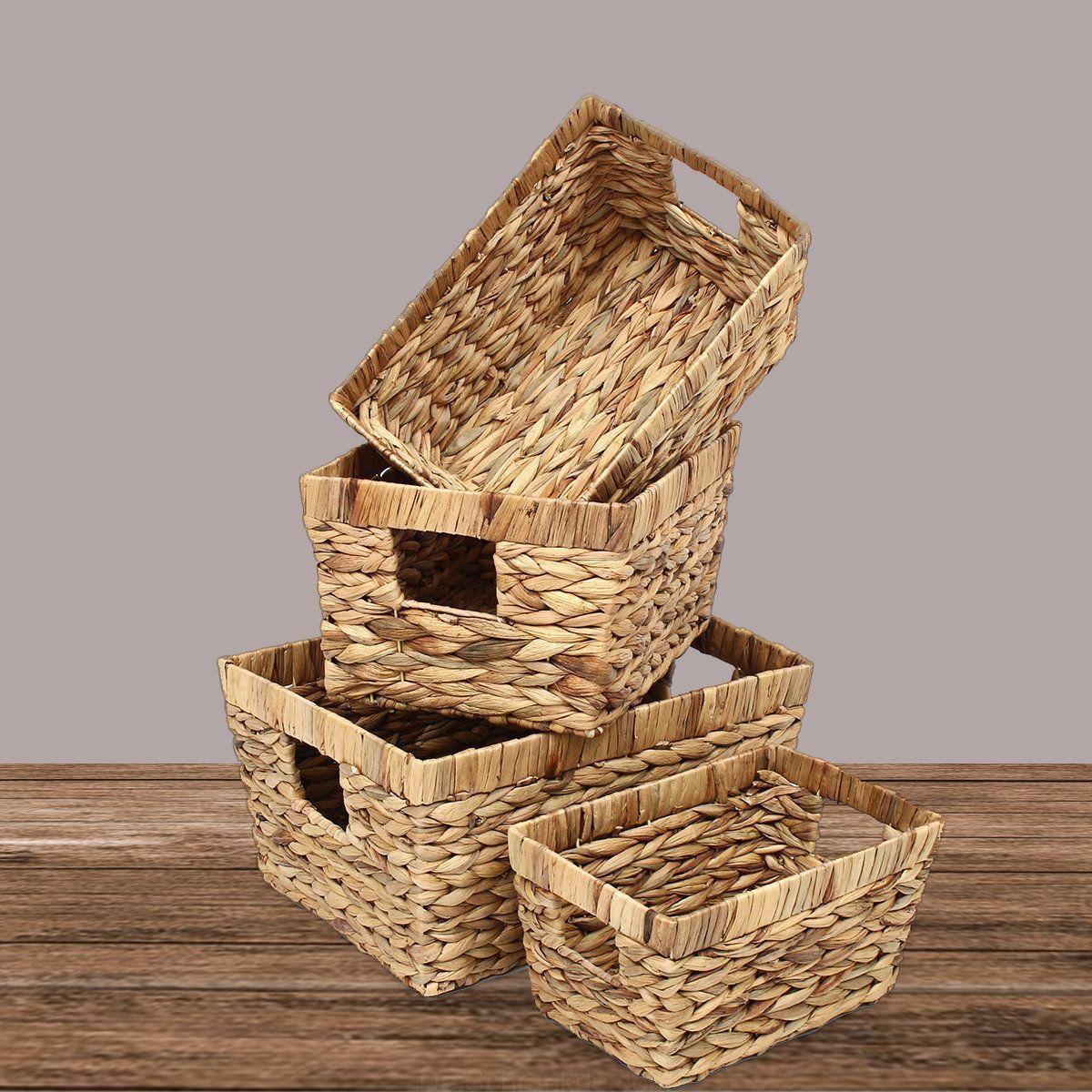 Schreibtisch Wicker Ablagekorb Schublade Gewebte Handgefertigte Kleidung Wasche Aufbewahrungsboxen Aufbewahrungsbox Weiden Ablage