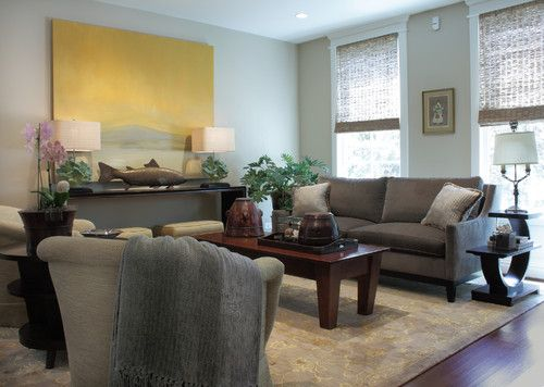 Cherry Floor Gray Couch Light Walls Living Room
