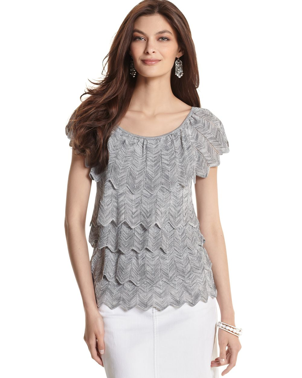 Womens Silver Tiered Summer Knit Sweater by White House Black ...