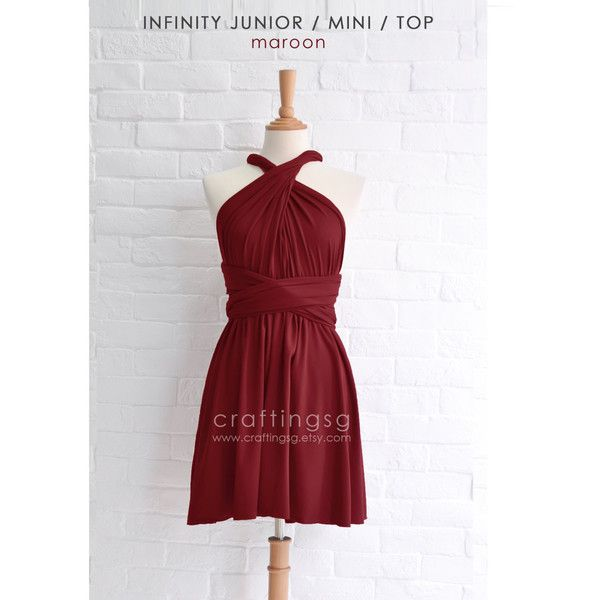 Junior Mini Bridesmaid Dress Infinity Dress Maroon Convertible Dress ...