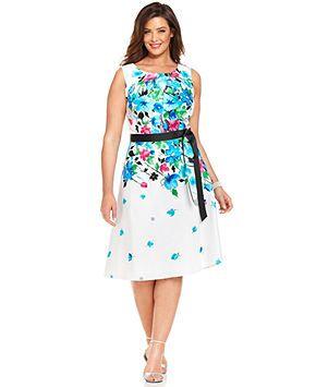 R&M Richards Plus Size Floral-Print Dress and Jacket ...